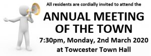 Annual Meeting of the Town - 7:30pm, Monday 2nd March 2020